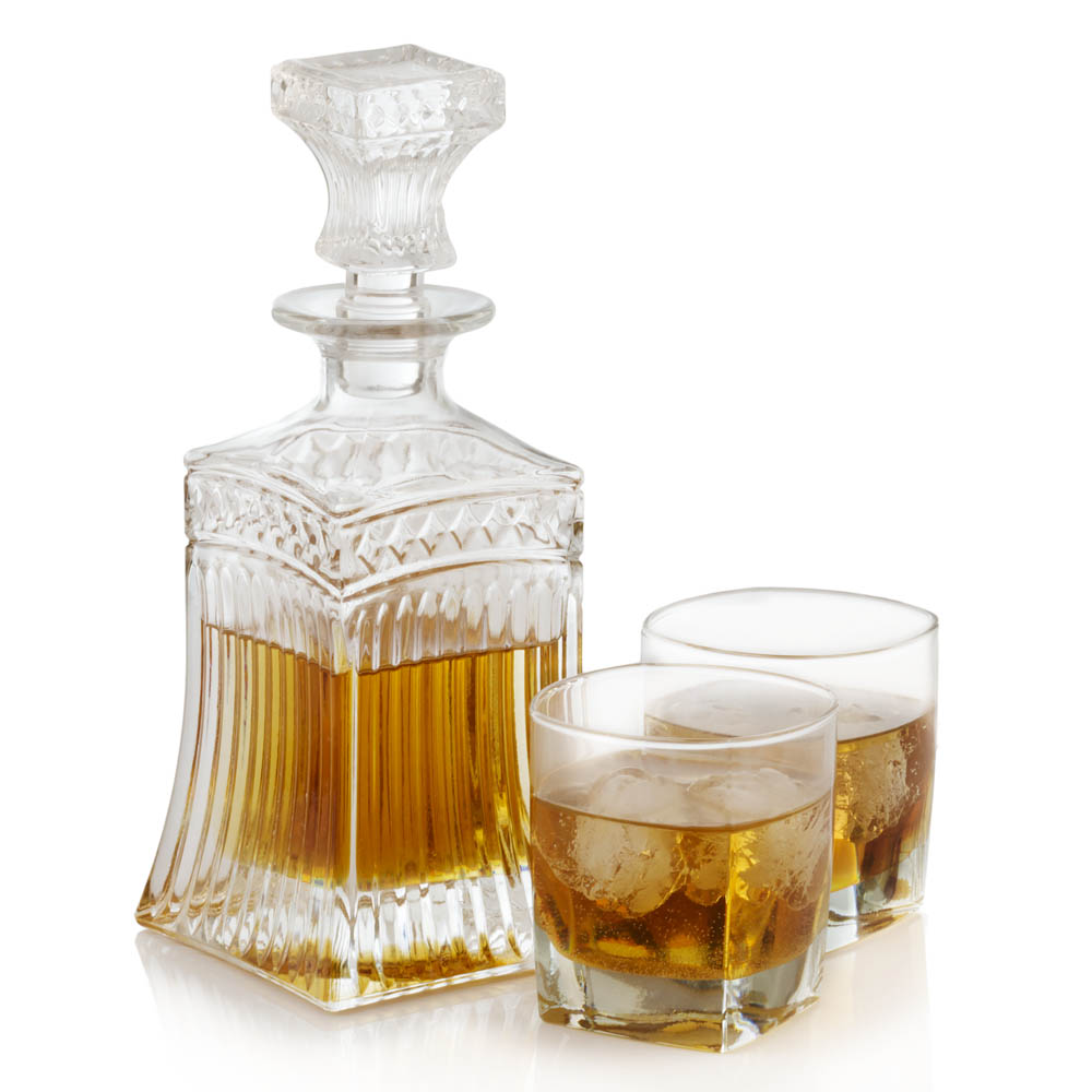 Crystal Whiskey/brandy Decanter With Scotch On Rocks Glasses